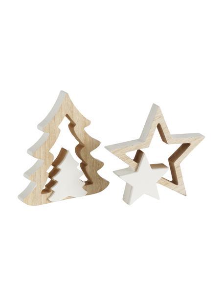 Set 2 oggetti decorativi in legno Ilga, alt. 18 cm, Legno rivestito, materiale sintetico, Beige, bianco, Set in varie misure