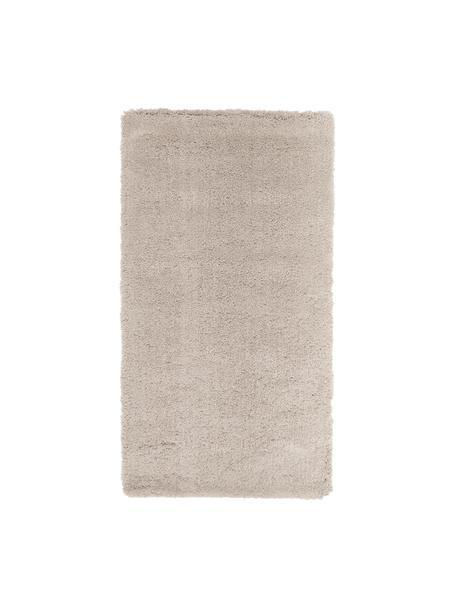 Pluizig hoogpolig vloerkleed Leighton in beige, Bovenzijde: 100% polyester (microveze, Onderzijde: 70% polyester, 30% katoen, Beige, B 80 x L 150 cm (maat XS)
