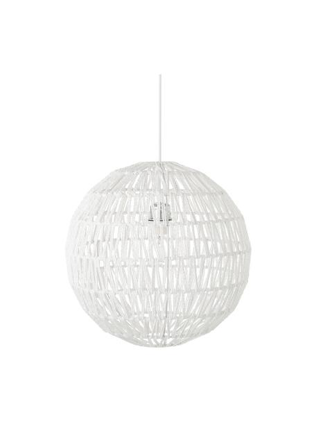 Pendelleuchte Cable aus Stoff, Lampenschirm: Textil, Baldachin: Metall, Weiss, Ø 40 cm