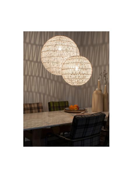 Hanglamp Cable van stof, Metaal, textiel, Wit, Ø 40 cm