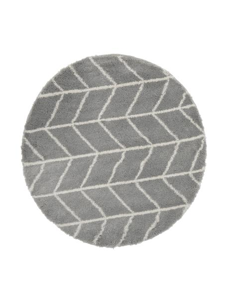 Hochflor-Teppich Cera in Grau/Cremeweiß, Flor: 100% Polypropylen, Grau, Cremeweiß, Ø 150 cm (Größe M)