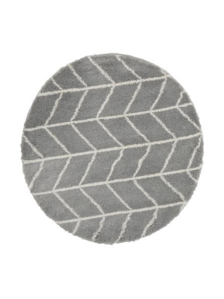 Hoogpolig vloerkleed Cera in grijs/crèmewit, Bovenzijde: 100% polypropyleen, Onderzijde: 78% jute, 14% katoen, 8% , Grijs, crèmewit, Ø 150 cm (maat M)