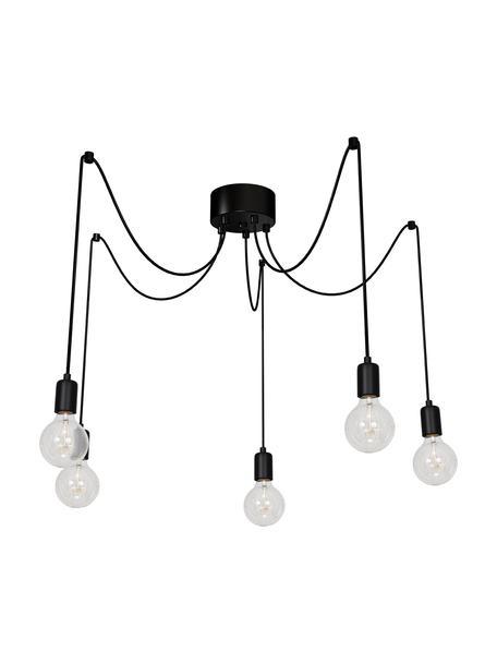 Lámpara de techo Spindel, Casquillo: plástico, Anclaje: plástico, Cable: cubierto en tela, Negro, Ajustable individualmente