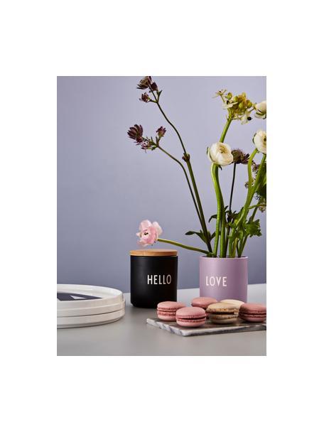 Design beker Favourite LOVE in lila met opschrift, Fine Bone China (porselein), Lila, wit, Ø 8 x H 9 cm
