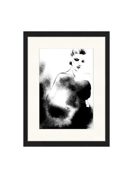 Gerahmter Digitaldruck Fashion, Bild: Digitaldruck auf Papier, , Rahmen: Holz, lackiert, Front: Plexiglas, Schwarz, Weiß, 33 x 43 cm