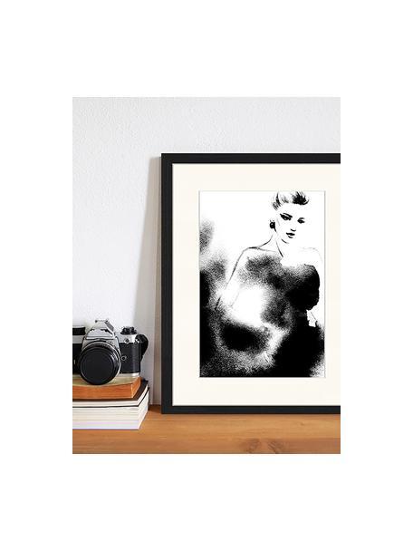 Impresión digital enmarcada Fashion, Negro, blanco, An 33 x Al 43 cm