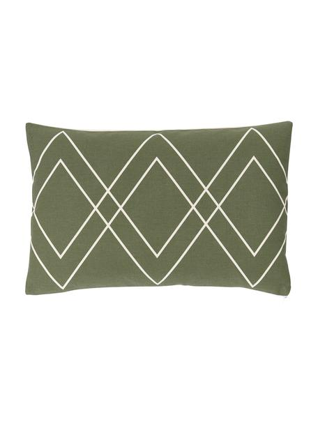 Federa arredo boho color bianco crema/verde oliva Ausel, 100% cotone, Verde oliva, Larg. 30 x Lung. 50 cm
