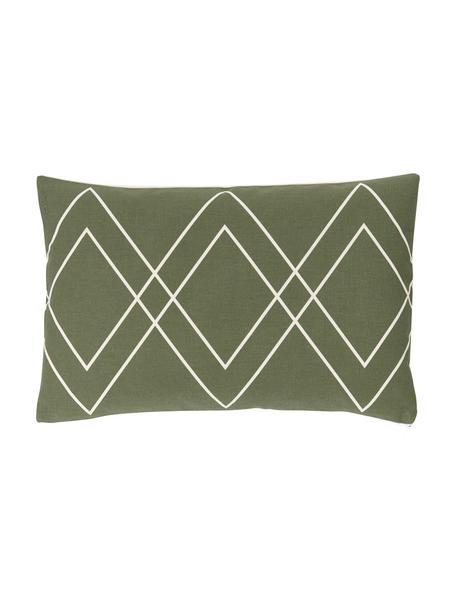 Funda de cojín Ausel, estilo boho, 100%algodón, Verde oliva, An 30 x L 50 cm