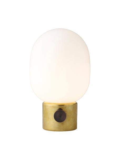 Dimmbare Nachttischlampe Mine aus Glas, Lampenfuß: Messing, Stahl, poliert, Lampenschirm: Glas, Lampenfuß: Messing, Stahl, poliert Lampenschirm: Weiß, Ø 17 x H 29 cm