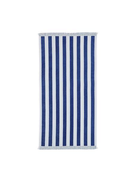 Gestreepte strandlaken Mare, 100% katoen Lichte kwaliteit 380 g/m², Blauw, wit, 80 x 160 cm