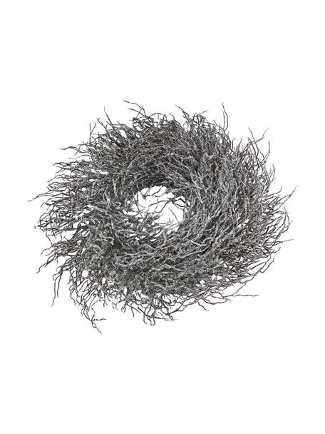 Kerstkrans Simple, Kunststof, metaal, Bruin, wit, glinsterend, Ø 40 x H 15 cm