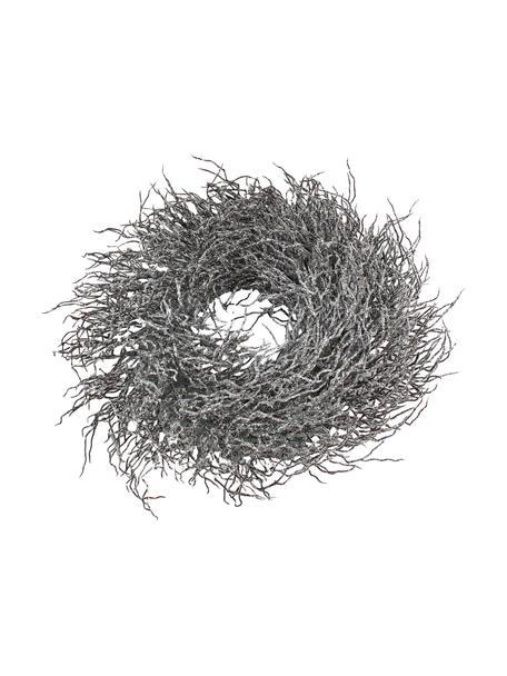 Weihnachtskranz Simple Ø 40 cm, Kunststoff, Metall, Braun, Weiss, beglimmert, Ø 40 x H 15 cm