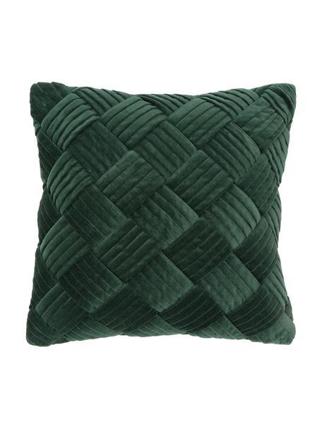 Fluwelen kussenhoes Sina in donkergroen met structuurpatroon, Fluweel (100% katoen), Groen, 45 x 45 cm
