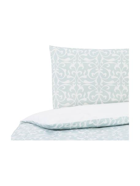 Dubbelzijdig dekbedovertrek Sola, Katoen, Bovenzijde: lichtblauw, wit. Onderzijde: wit, 140 x 200 cm