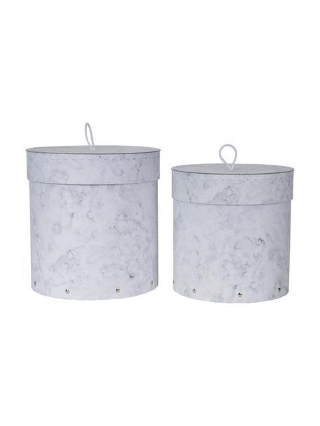 Komplet pudełek do przechowywania Hanna, 2 elem., Biały, marmurowy, Komplet z różnymi rozmiarami