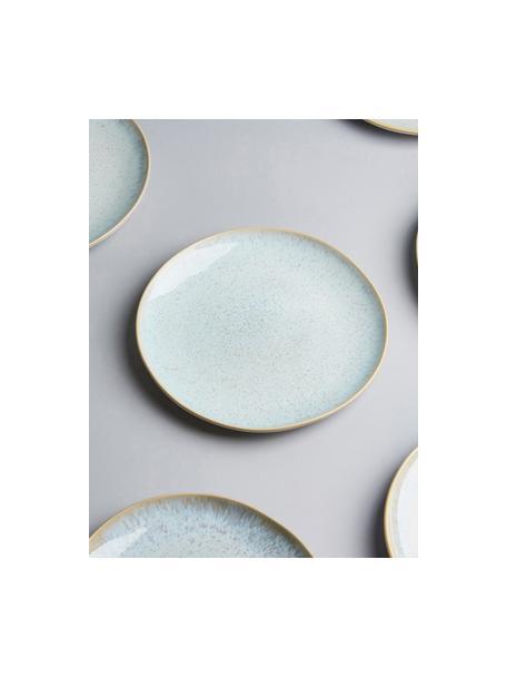 Handbemalte Frühstücksteller Areia mit reaktiver Glasur, 2 Stück, Steingut, Hellblau, Gebrochenes Weiß, Hellbeige, Ø 22 cm