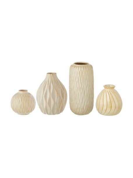 Set 4 vasi decorativi in porcellana Zalina, Porcellana, Crema, beige, Set in varie misure