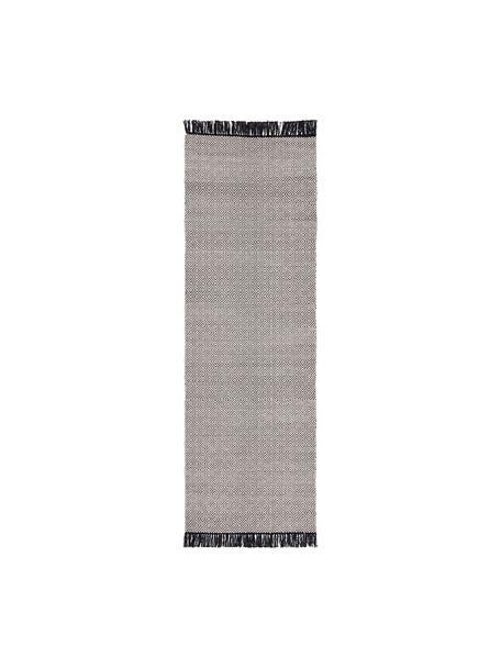 Passatoia con motivo grafico Todos, 40% cotone, 30% lana, 30% poliestere, Greige, Larg. 80 x Lung. 250 cm