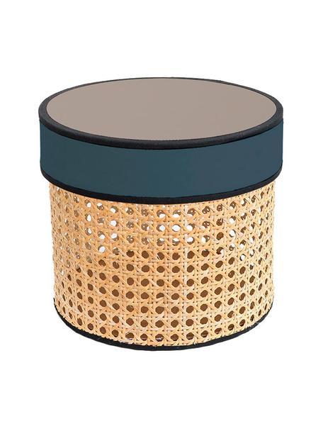 Caja decorativa Pamela, Caja: rejilla, Tapa: tela, fibras de densidad , Beige, negro, Ø 21 x Al 19 cm