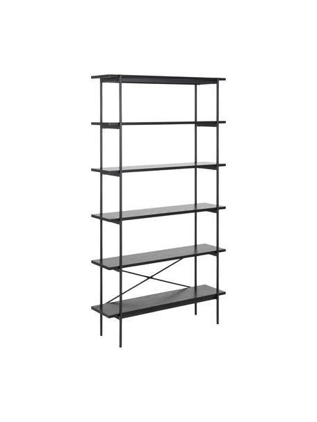 Libreria nera Angus, Struttura: metallo rivestito, Ripiani: pannelli di fibra a media, Nero, Larg. 94 x Alt. 172 cm