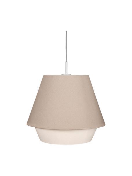 Lampada a sospensione Noble Delight, Paralume: tessuto, Baldacchino: metallo rivestito, Grigio, bianco, Ø 37 x Alt. 31 cm