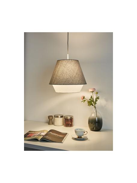 Hanglamp Noble Delight, Lampenkap: stof, Baldakijn: gecoat metaal, Grijs, wit, Ø 37 x H 31 cm