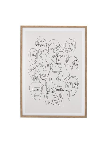 Ingelijste digitale print Chichi, Afbeelding: digitale afdruk op papier, Lijst: gelakt hout, Bruin, 52 x 72 cm