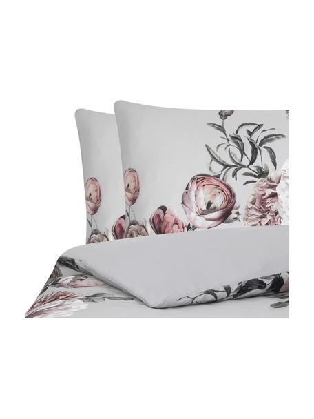 Parure copripiumino in raso di cotone Blossom, Grigio, 255 x 200 cm + 2 cuscini 50 x 80 cm