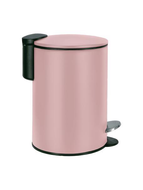 Afvalemmer Silence met pedaalfunctie, Gelakt metaal, Roze, Ø 17 x H 24 cm