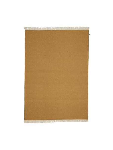 Tappeto Kilim in lana giallo ocra tessuto a mano con frange Rainbow, Frange: 100% cotone Nel caso dei , Giallo ocra, Larg. 140 x Lung. 200 cm (taglia S)