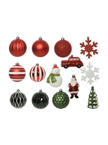 Set de adornos navideños irrompibles Mischa, 25uds., Adornos: plástico, Rojo, blanco, verde, Set de diferentes tamaños