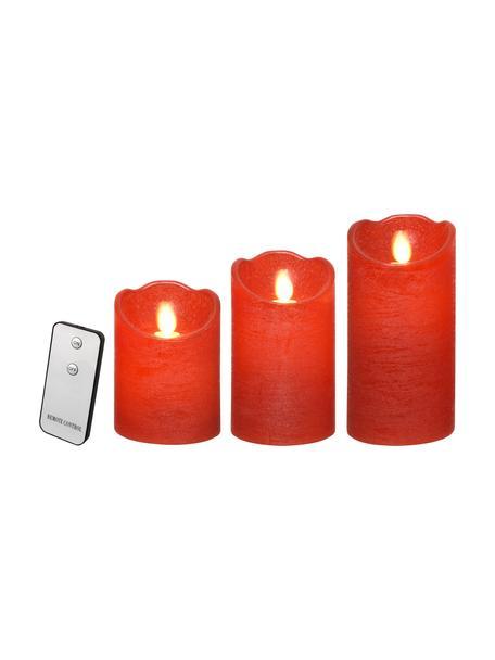 Komplet świec LED zasilanych na baterie Beno, 3 elem., Wosk, Czerwony, Komplet z różnymi rozmiarami