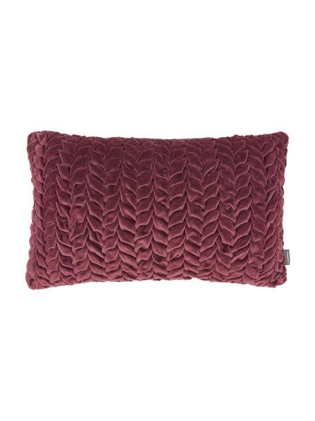 Poduszka z aksamitu z wypełnieniem Smock, Tapicerka: 100% aksamit bawełniany, Wiśniowy, S 30 x D 50 cm