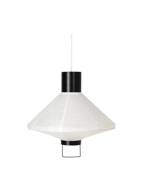 Lámpara de techo de papel Ritta, Pantalla: papel, Estructura: metal recubierto, Cable: cubierto en tela, Blanco, negro, Ø 44 x Al 42 cm