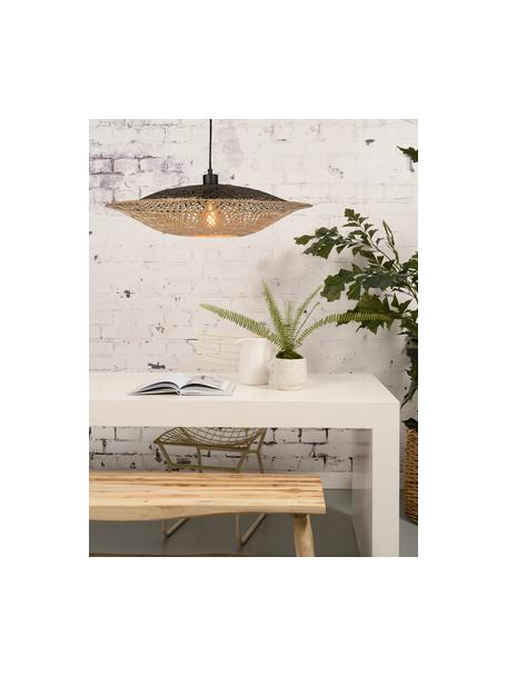 Lámpara de techo grande de bambú Kalimantan, Pantalla: bambú, Anclaje: plástico, Cable: cubierto en tela, Bambú, negro, Ø 60 x Al 15 cm