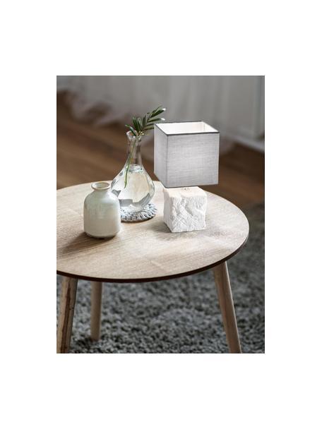Kleine keramische tafellamp Adda, Lampenkap: stof, Lampvoet: keramiek, Wit, lichtgrijs, Ø 15 x H 29 cm