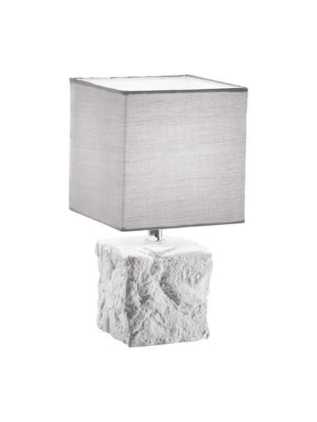 Kleine Nachttischlampe Adda aus Keramik, Lampenschirm: Stoff, Weiss, Hellgrau, Ø 15 x H 29 cm