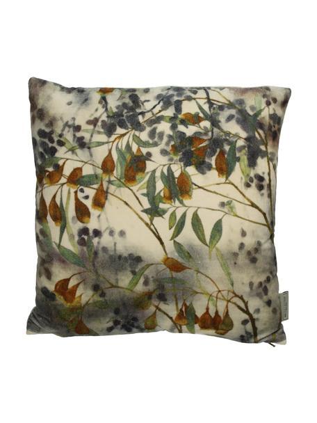 Samt-Kissen Branches mit floralem Muster, mit Inlett, Bezug: Baumwollsamt, Beige, Grün, Mehrfarbig, 45 x 45 cm