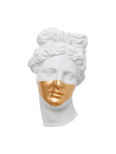 Handgemaakt wandobject Apollo met wandschaalfunctie, Polyresin, gelakt, Wit, 26 x 42 cm