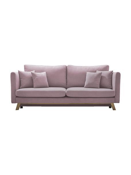 Sofa z funkcją spania Triplo (3-osobowa), Tapicerka: 100% aksamit poliestrowy, Nogi: metal lakierowany, Blady różowy, S 216 x G 105 cm