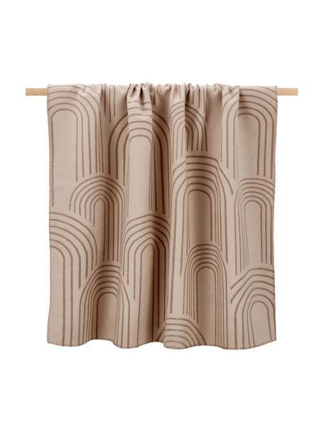 Omkeerbare plaid Deco met reliëf design en decoratieve stiksels, 85% katoen, 15% polyacryl, Lichtbruin, bruin, 130 x 200 cm
