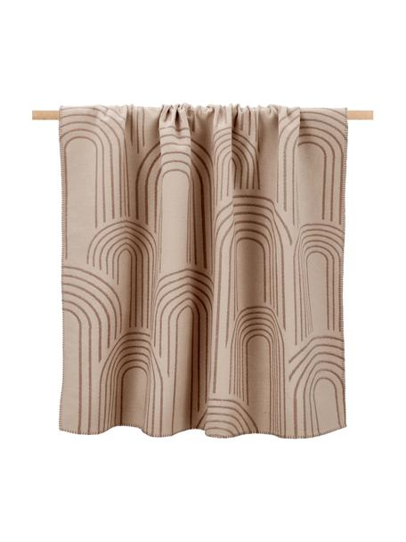 Wendebaumwolldecke Deco mit abstrakten Regenbogenmotiven und unterschiedlicher Vorder/Rückseite, 85% Baumwolle, 15% Polyacryl, Hellbraun, Braun, 130 x 200 cm