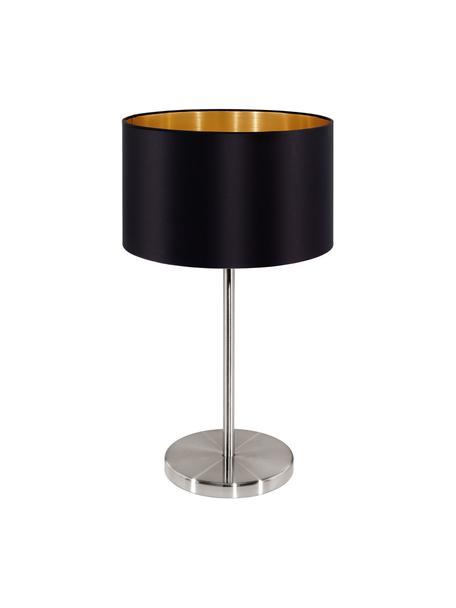 Tafellamp Jamie met goudkleurige decoratie, Lampvoet: vernikkeld metaal, Zwart, zilverkleurig, Ø 23 x H 42 cm