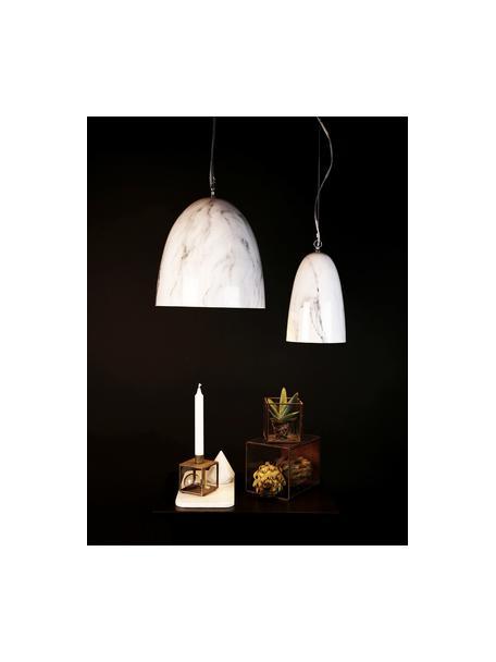 Mała lampa wisząca z imitacją marmuru Leon, Biały, marmurowy, Ø 30 x W 35 cm