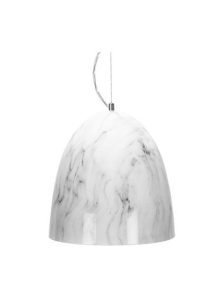 Kleine Pendelleuchte Marriot in Marmor-Optik, Lampenschirm: Metall, foliert, Dekor: Metall, Weiß, marmoriert, Ø 30 x H 35 cm