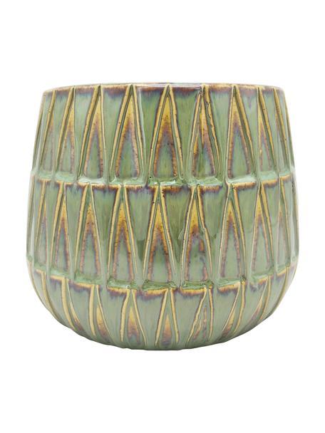 Osłonka na doniczkę z ceramiki Nomad, Ceramika, Zielony, żółty, Ø 19 x W 15 cm