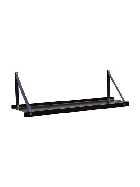Metalen wandplank Shelfie met leren riemen, Plank: gepoedercoat metaal, Riemen: leer, Zwart, 75 x 23 cm
