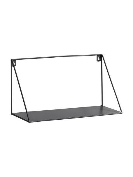 Metalen wandrek Teg in zwart, Gelakt metaal, Zwart, 40 x 20 cm