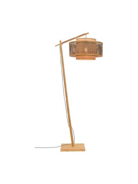 Lampa podłogowa w kształcie łuku z drewna bambusowego Bhutan, Jasny brązowy, czarny, szary, Ø 50 x W 176 cm