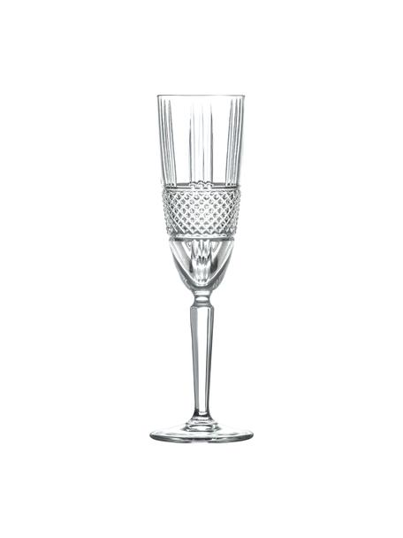 Kristall-Sektgläser Brillante mit Relief, 6 Stück , Kristallglas, Transparent, Ø 6 x 23 cm